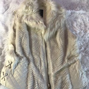 Guess fur vest with leather